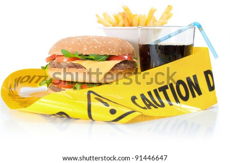 Unhealthy food caution - stock photo