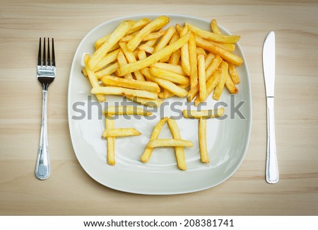 Unhealthy food concept - french fries on a plate - stock photo