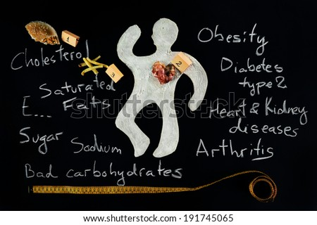 Unhealthy food hazard. Awareness. Crime scene,a silhouette of a man made out of baking dough. There are several evidences about the cause of death. Cause and effect of unhealthy eating.  - stock photo