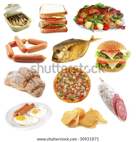 unhealthy food isolated on white