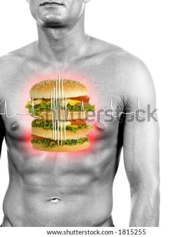 unhealthy food reason of heart attacks - digital composition - stock photo