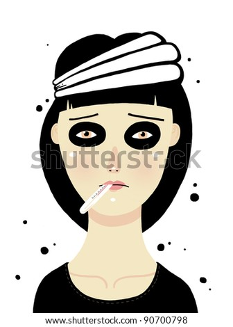 Unhealthy girl - stock photo