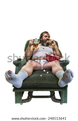 Unhealthy overweight man eating junk food on a white background.