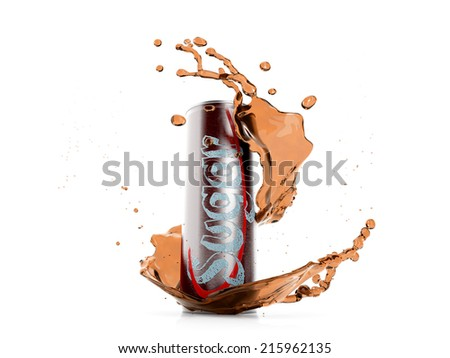 Unhealthy Soft Drink with Splash - stock photo