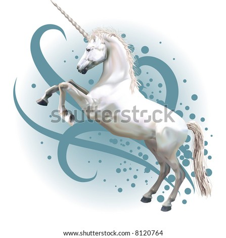 Unicorn. A  illustration of a unicorn rearing up on its hind legs. - stock photo