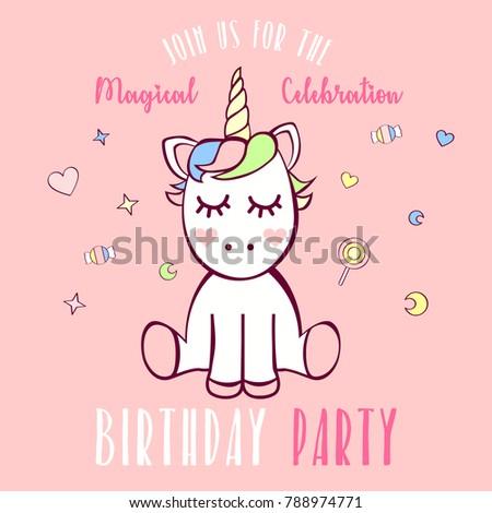 Unicorn birthday party invitation em ilustrao stock 788974771 unicorn birthday party invitation stopboris Image collections