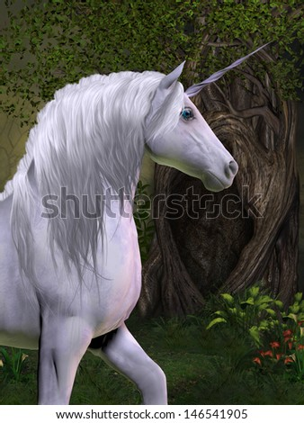 Unicorn Horse - A unicorn buck prances in the magical forest full of beautiful flowers and trees. - stock photo