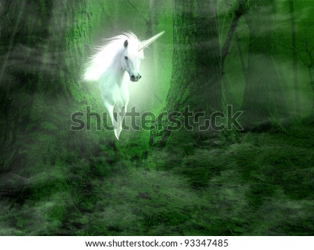 Unicorn in the fairy forest - stock photo