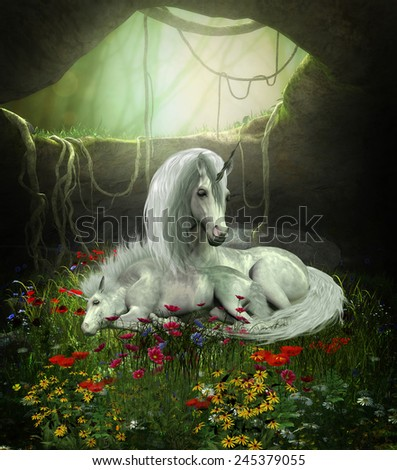 Unicorn Mare and Foal - A Unicorn mother guards her foal as they sleep in a magical forest cavern full of flowers. - stock photo