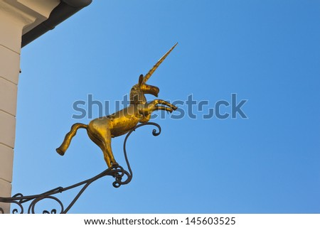 unicorn on a house fasade