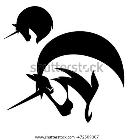Unicorn profile design black and white horse head emblem