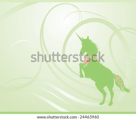 Unicorn rearing on fantasy green spring background. Mane and tail decorated with sakura (cherry) blossoms