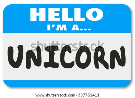 Unicorn word on a Hello nametag sticker to illustrate the perfect, rare, uncommon, special or unique job candidate or leader - stock photo