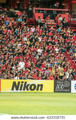 Unidentified fans of Muangthong United supporters during the AFC Champions League 2017 Group E between Muangthong United and Ulsan Hyundai at Thunder Dome Stadium on April12, 2017 in Bangkok, Thailand