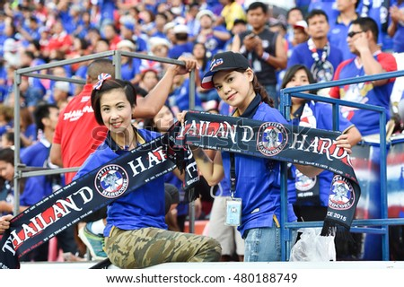 Unidentified fans of Thailand  supporters during the 2018 World Cup Qualifiers match between Thailand and Japan at Rajamangala Stadium on September 6, 2016 in Bangkok, Thailand