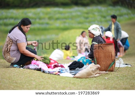 Unidentified hilltribe,morning market ,Chaing rai, Thailand on December 23,2012:The establishment of Division 93 of the Chinese community immigrant on Doi Mae Salong , so full of life and culture.  - stock photo
