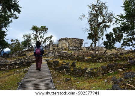 Unidentified tourist walking tthe ruins ancient stock photo unidentified tourist walking in tthe ruins of the ancient civilization of kuelap at the amazon sciox Image collections