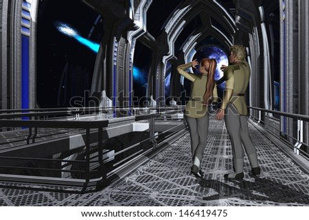 Uniformed couple on the observation deck of a starship gazing at a passing comet - stock photo