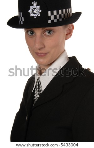Uniformed UK female police officer isolated on white - stock photo