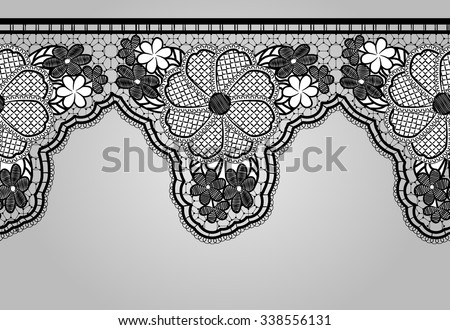 Unilateral Black seamless lace braid. Lacy background. Rasterized version. - stock photo