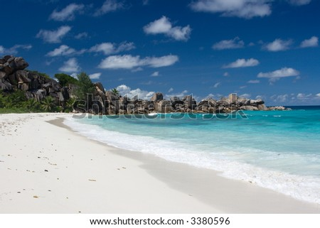 Uninhabited Beach at the Seychelles
