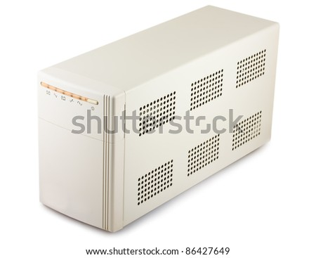 Uninterruptible power supply system isolated on a white background - stock photo