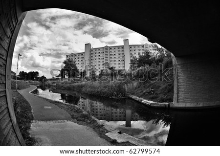 Union Canal and Council Flats, Edinburgh - stock photo