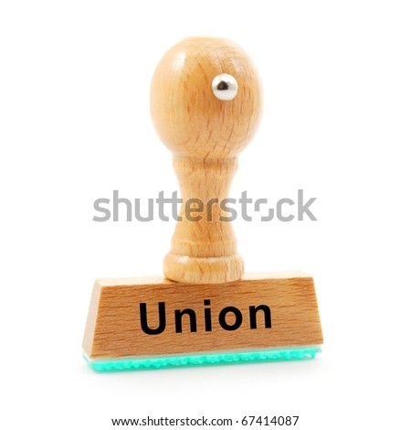 union concept with stamp and documents in the office - stock photo