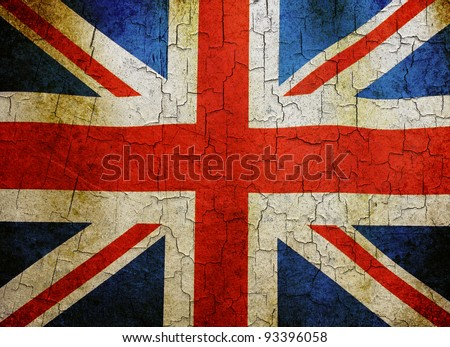 Union flag on a cracked grunge background - stock photo