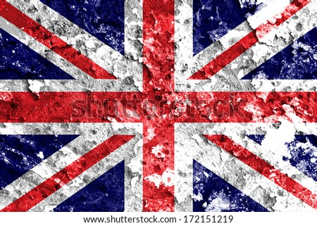 Union flag on a wall background  - stock photo