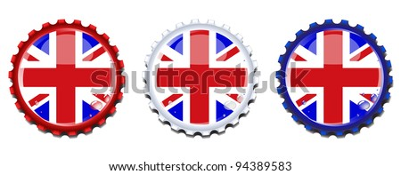 Union Jack  bottle caps.  Also available in vector format. - stock photo