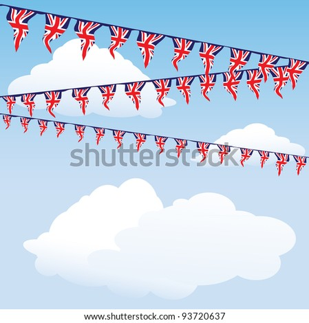 Union Jack bunting on cloud background with space for your text. Also available in vector format - stock photo