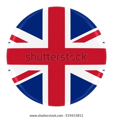 Union Jack Flag Badge - Flag of the United Kingdom Button Isolated on White - stock photo