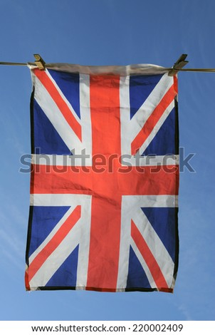Union Jack Flag Hanging on a Washing Line