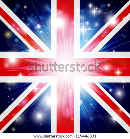 Union Jack flag of United Kingdom background with pyrotechnic or light burst and copy space in the centre - stock photo
