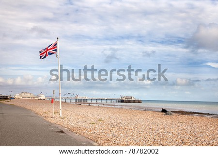 Union Jack flying at the sea front near the  Worthing pier