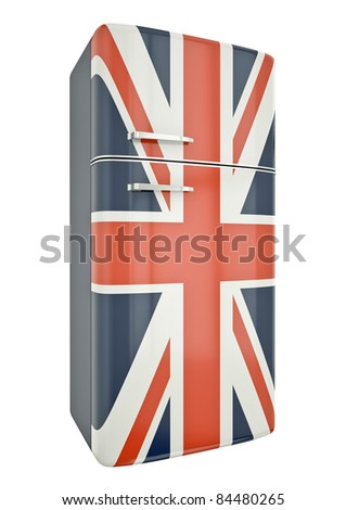 Union Jack fridge. 3D render. - stock photo