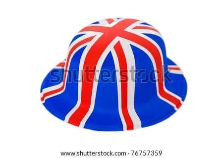 Union Jack novelty hat Isolated over a white background - stock photo
