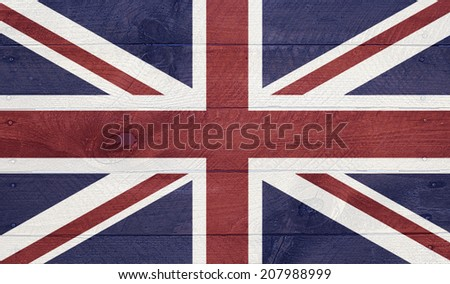 Union Jack, United Kingdom - National symbol series of flags, layered on wooden boards with nails. - stock photo