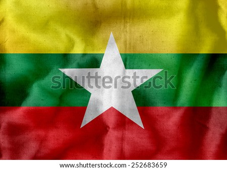 Union of Myanmar flag or Burma flag themes idea design - stock photo