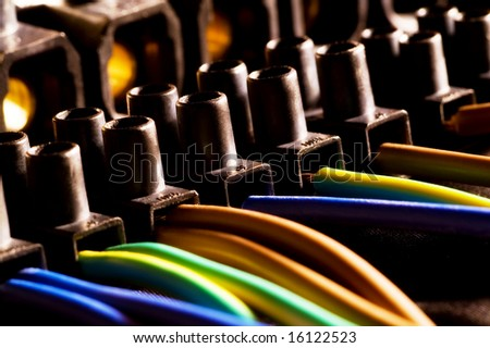 Union of several electrical cables in an industrial installation - stock photo