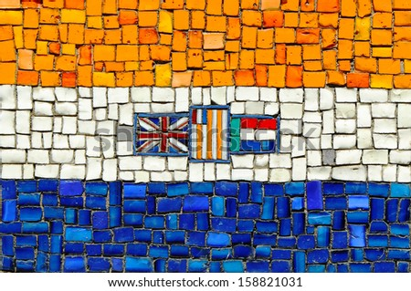 Union of South Africa Flag in Mosaic - stock photo
