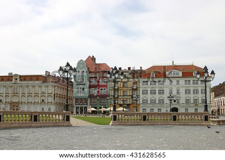Union square with colorful buildings Timisoara