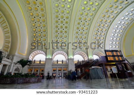 Union Station interior architecture, Washington DC United States - stock photo