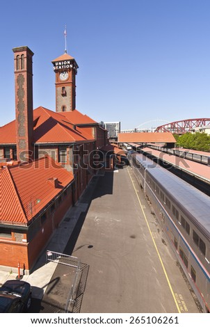 Union Station train station in Portland Oregon. - stock photo