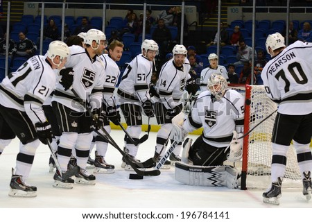 UNIONDALE, NY - NOV 14 Los Angeles Kings players during warm-ups prior to the start of the game between the Kings and New York Islanders Nov. 14, 2013 at Nassau Veterans Memorial Coliseum in Uniondale, N.Y. - stock photo