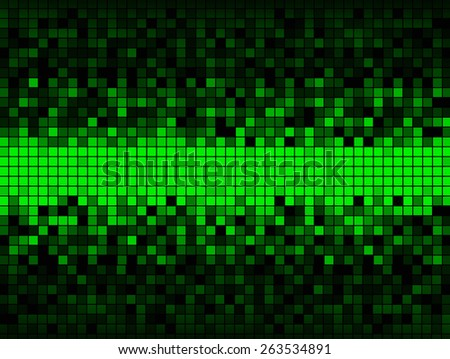 Unique abstract background created from a grid of squares some green some shades of gray, distributed so that the center is all green and the upper and lower edges are dark. - stock photo