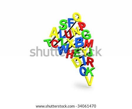 Unique Alphabetic Tornado. - stock photo