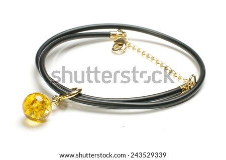 Unique and luxury amber necklace or armlet isolated on the white background - stock photo