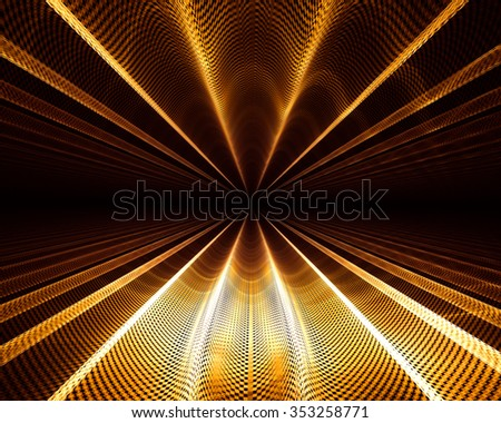 Unique and spectacular abstract background. Texture - futuristic geometric pattern with metallic luster with an interesting perspective - stock photo